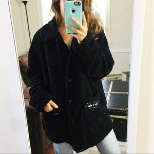 Vintage | Cozy Black Oversized Sherpa Teddy Coat
